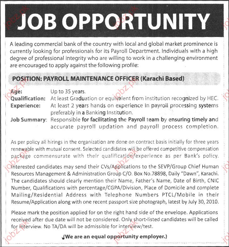 Commercial Bank job Opportunity