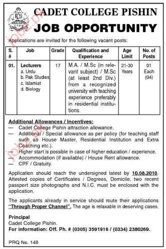 Job Opportunities in Cadet College Pishin