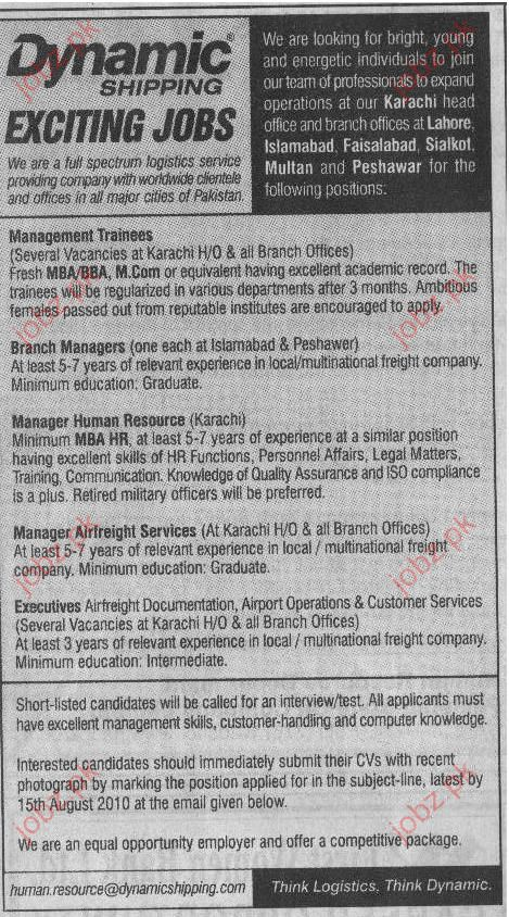 Manager Airfreight Services, Branch Manager Job Opportunity