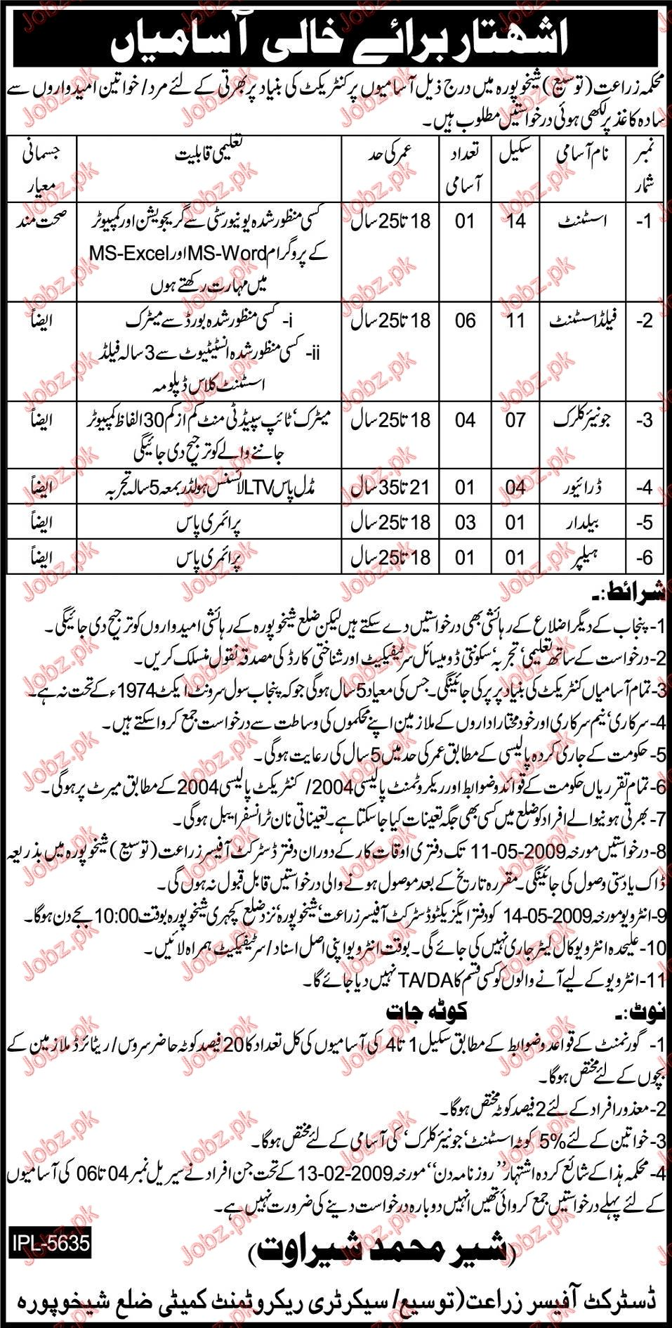 District Office Agriculture Department  Jobs