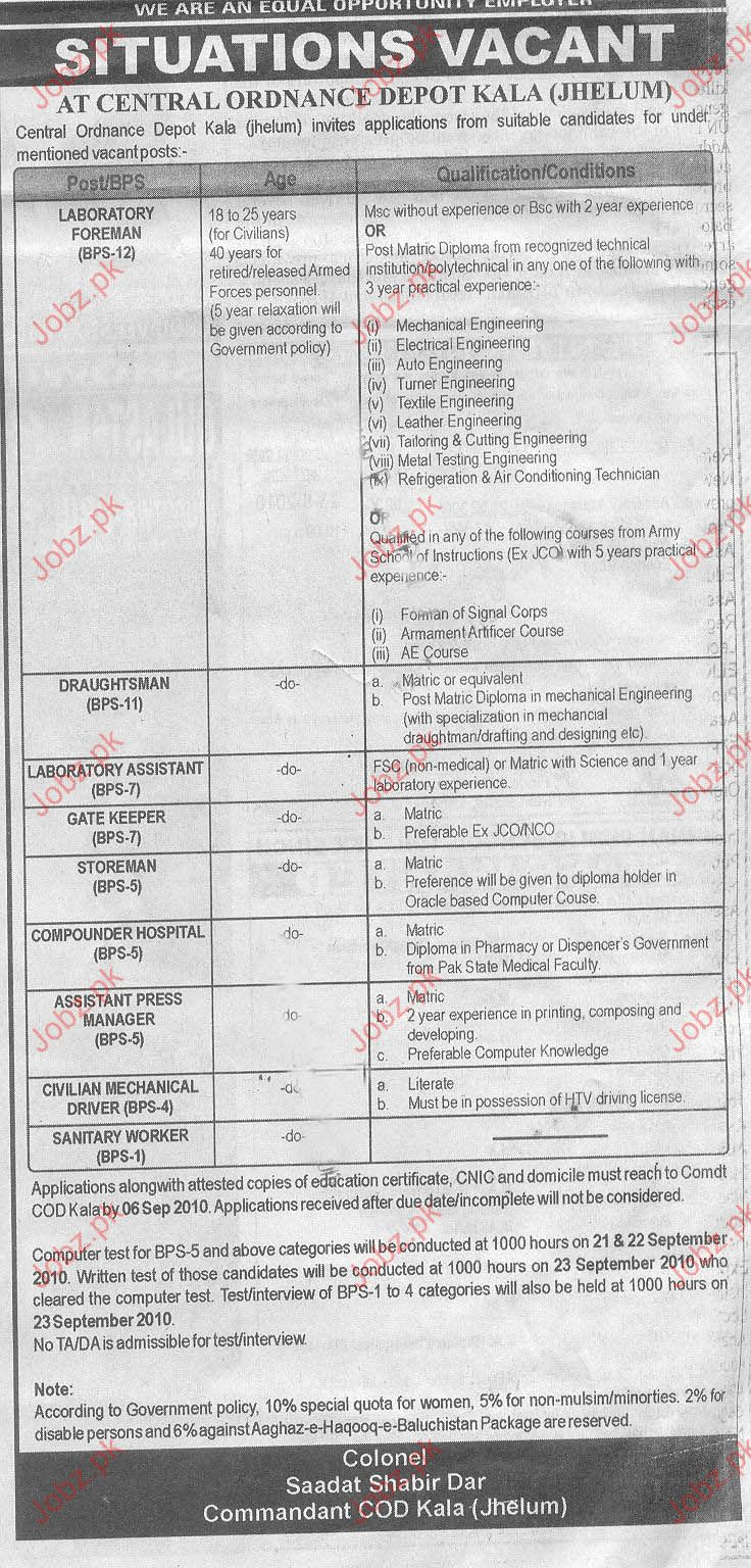 Job Opportunities In Army Central Ordinance Depot Jehlum
