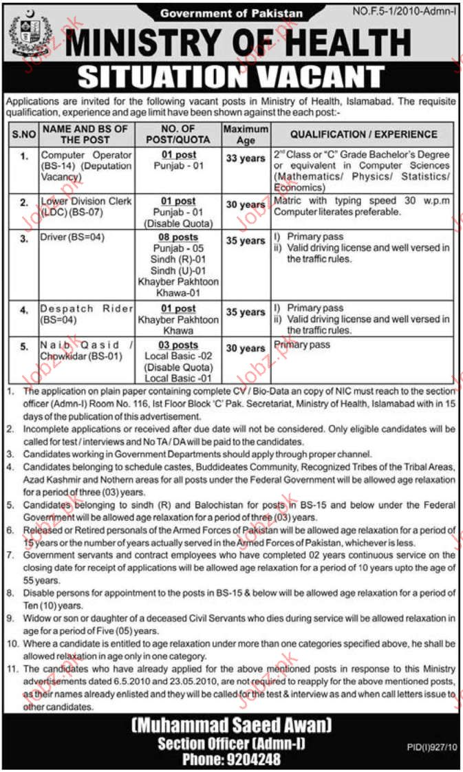Job Opportunities in Ministry Of Health Islamabad
