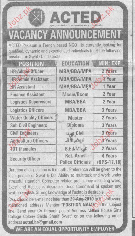 HR Assistant, Logistics Officer, Sub Civil Engineer Vacancy