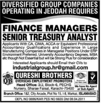 Finance Manager & Senior Analyst Required