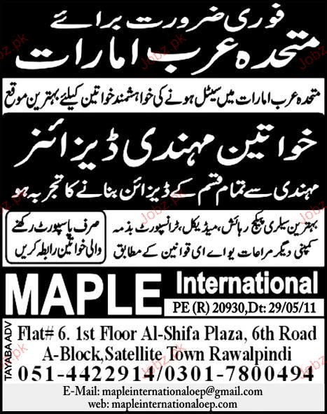 Ladies Mehandi Designer Job Opportunity