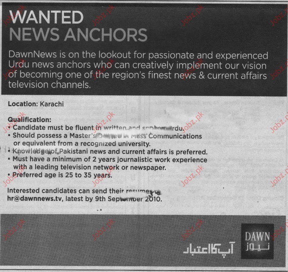 News Anchors  Job Opportunities in Dawn News Karachi