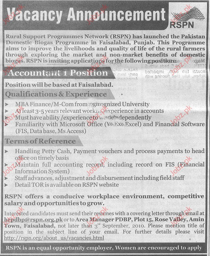 Accountant Job Opportunities in RSPN Faisalabad