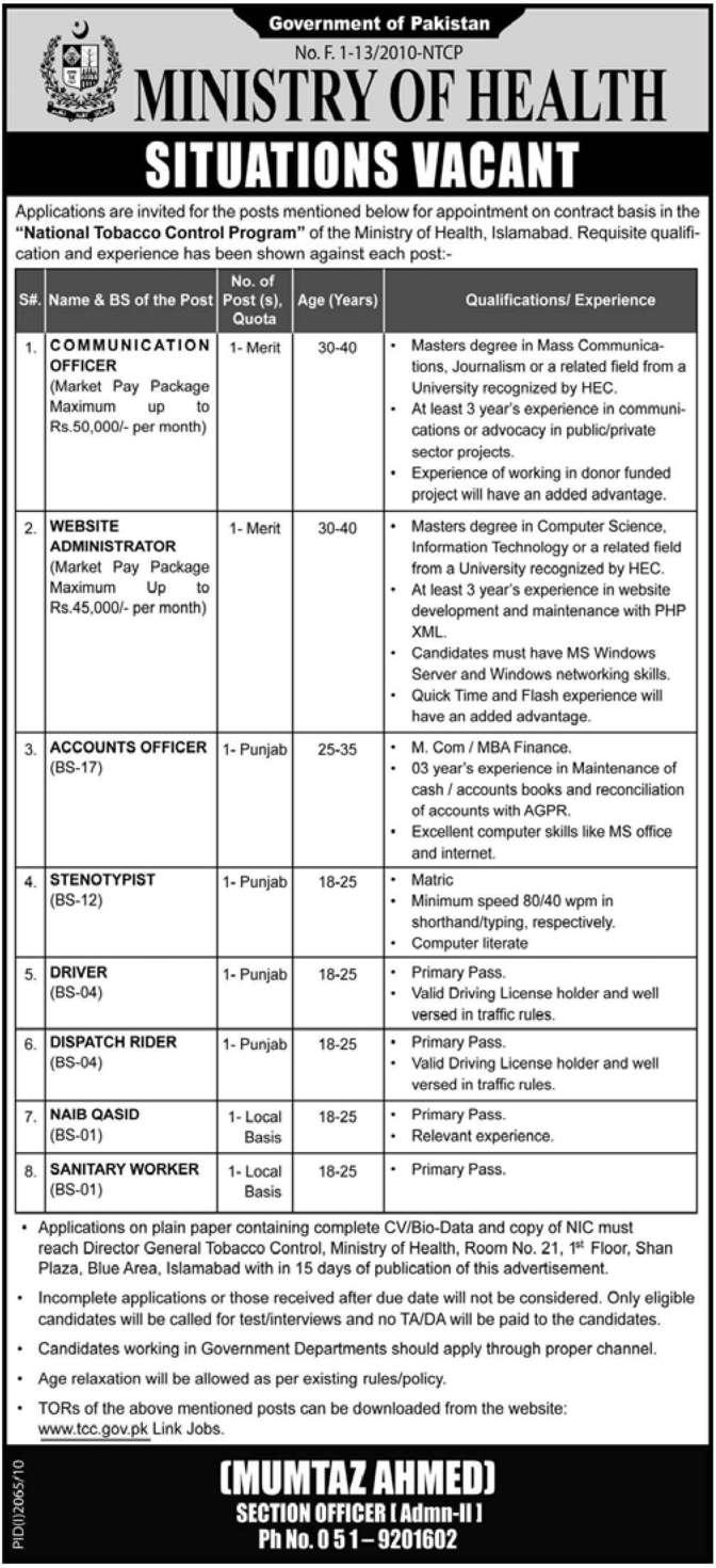 Jobs for Communication Officer,Website admin,etc.in Islamaba