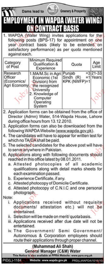 Research Officer (Economics / Agriculture Economy) jobs