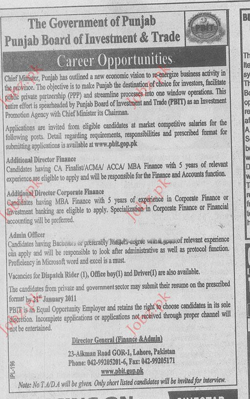 Additional Director Corporate Finance, Admin Officer Vacancy