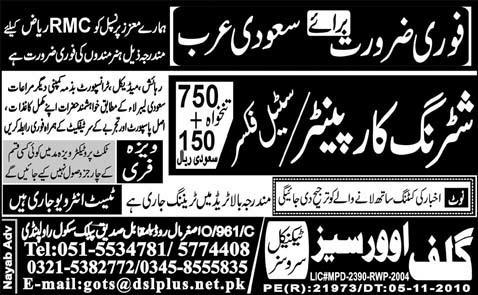 Shuttering Carpenter and Steel Fixer Job Opportunity
