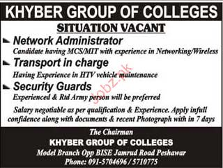 Network Administrator, Transport In Charge Job Opportunity