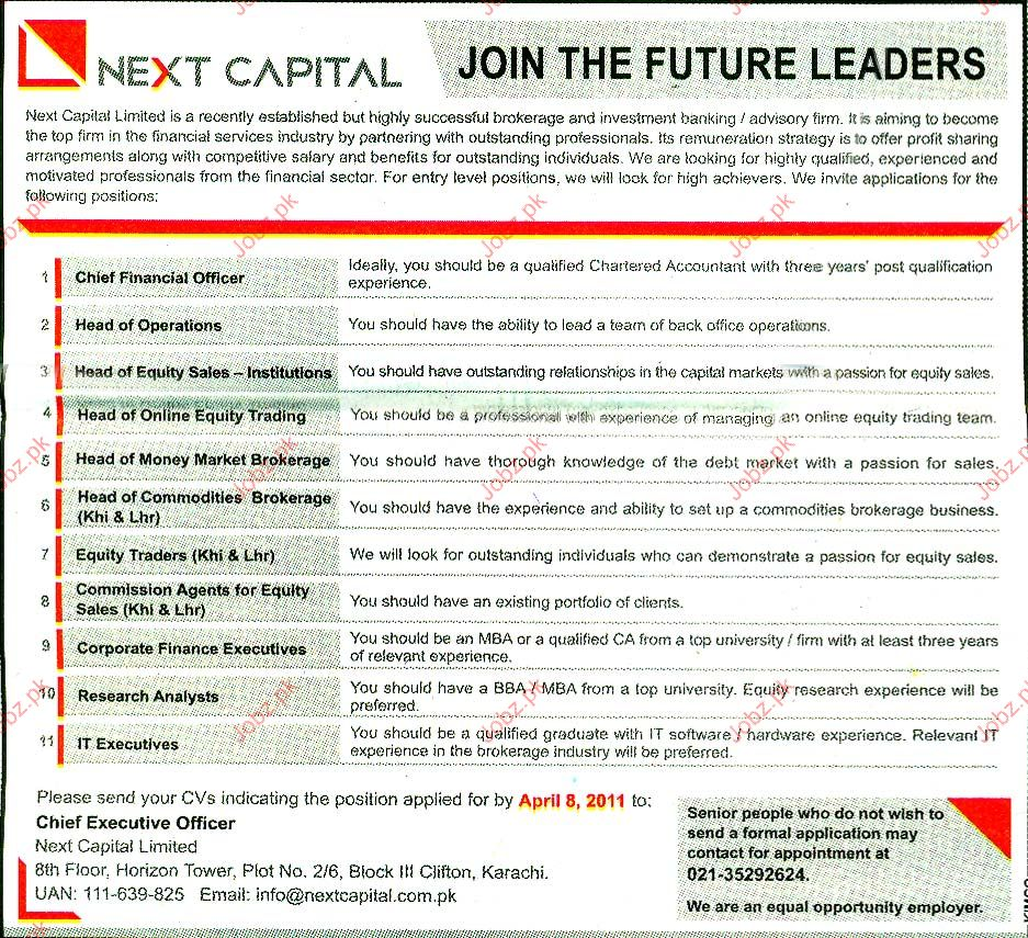 Chief Financial Officer, Head of Operation Job Opportunity