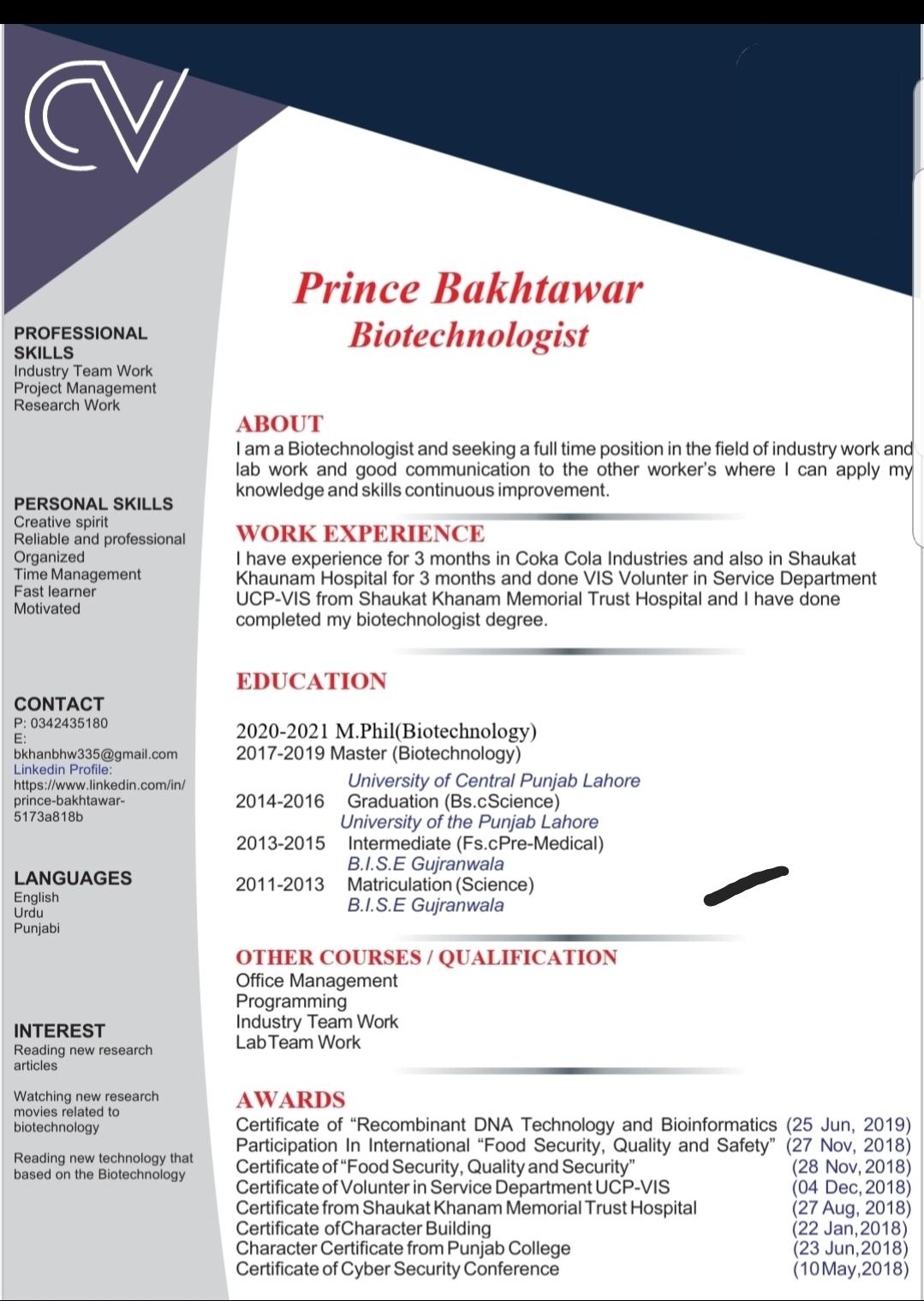 Biotechnology  Freelancer